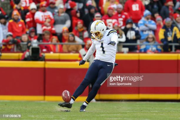 Los Angeles Chargers punter Ty Long kicks off in the fourth quarter of an AFC West game between the Los Angeles Chargers and Kansas City Chiefs on...