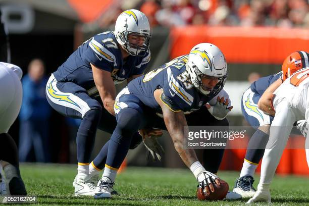 Los Angeles Chargers quarterback Philip Rivers prepares to take a snap from Los Angeles Chargers center Mike Pouncey during the first quarter of the...