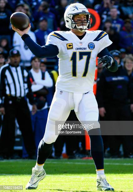 Los Angeles Chargers quarterback Philip Rivers throws a pass against the Baltimore Ravens on January 6 at MT Bank Stadium in Baltimore MD