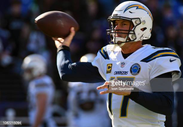 Los Angeles Chargers quarterback Philip Rivers warms up prior to the game against the Baltimore Ravens on January 6 at MT Bank Stadium in Baltimore MD