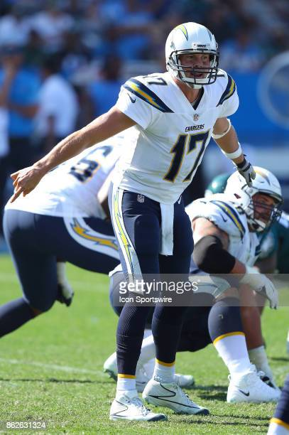 Los Angeles Chargers quarterback Phillip Rivers calls out a play during the Philadelphia Eagles game versus the Los Angeles Chargers on October 1 at...