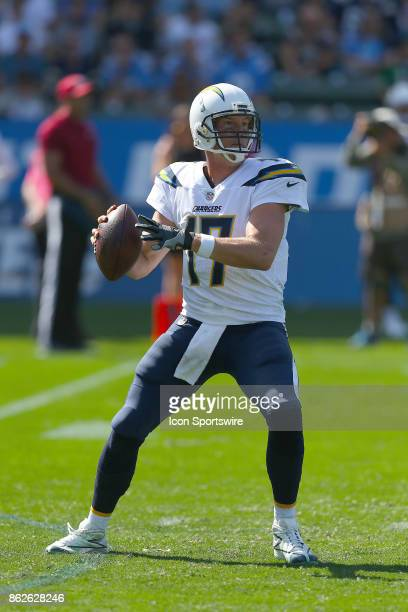 Los Angeles Chargers quarterback Phillip Rivers looks to pass during the Philadelphia Eagles game versus the Los Angeles Chargers on October 1 at...