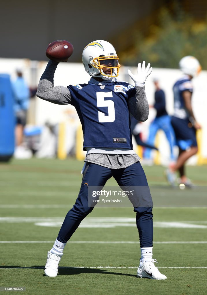 0e184ed8f Los Angeles Chargers Quarterback Tyrod Taylor throws a pass during ...