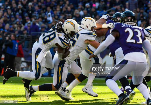 Los Angeles Chargers running back Melvin Gordon in action against the Los Angeles Chargers on January 6 at MT Bank Stadium in Baltimore MD
