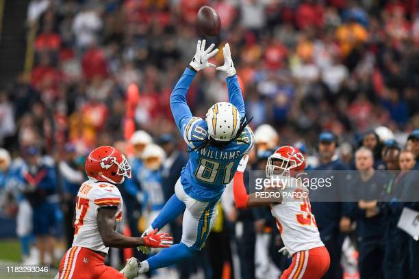 Los Angeles Chargers wide receiver Mike Williams catches the ball during the 2019 NFL week 11 regular season football game between Kansas City Chiefs...