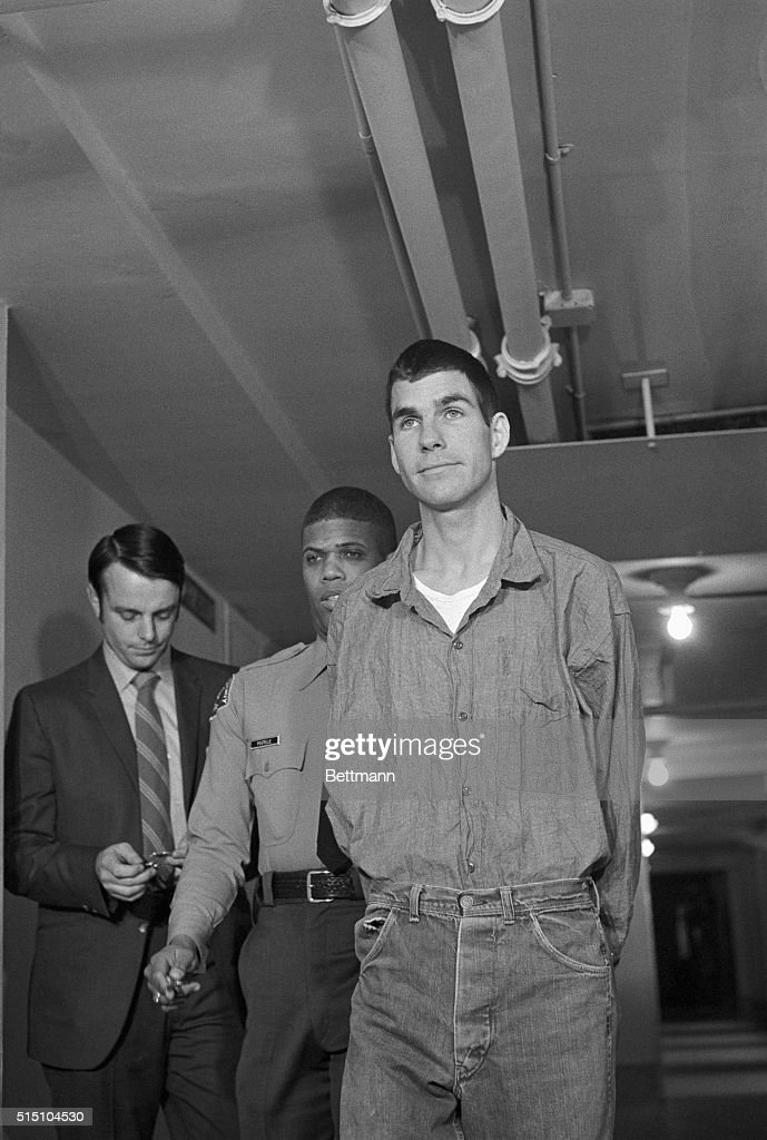 Charles (Tex) Watson arrives for his arraignment on charges of conspiracy and murder in the Tate-LaBianca slayings. Watson was arraigned on the charges, but further psychiatric examinations were ordered. Attorney Sam Burbrick told newsmen that there is a 'very distinct probability' that he will ask for a change in venue due to the impact of the Charles Manson trial in LA County.