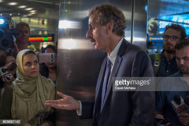 Los Angeles City Attorney Mike Feuer talks to attorneys and reporters after a meeting with officials on the first day of the the partial...