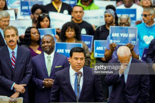 Los Angeles City Council member Jose Huizar speakings a press conference with housing advocates in advance of the City Council's final vote on the...