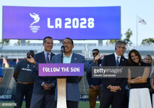 Los Angeles City Council President Herb Wesson speaks at the podium as he celebrates with Los Angeles Mayor Eric Garcetti LA 2024 Bid Chairman Casey...