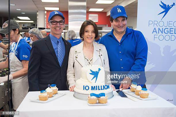 Los Angeles City Councilman Mitch O'Farrell, Marianne Williamson and Richard Ayoub deliver Project Angel Food's 10 millionth meal at Project Angel...