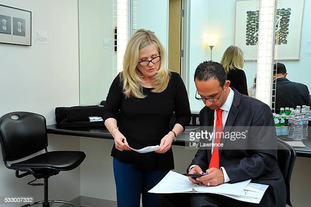 Los Angeles City Councilman Mitchell Englander and Actress and voice actor Nancy Cartwright backstage at Making Movies That Matter Film Festival on...