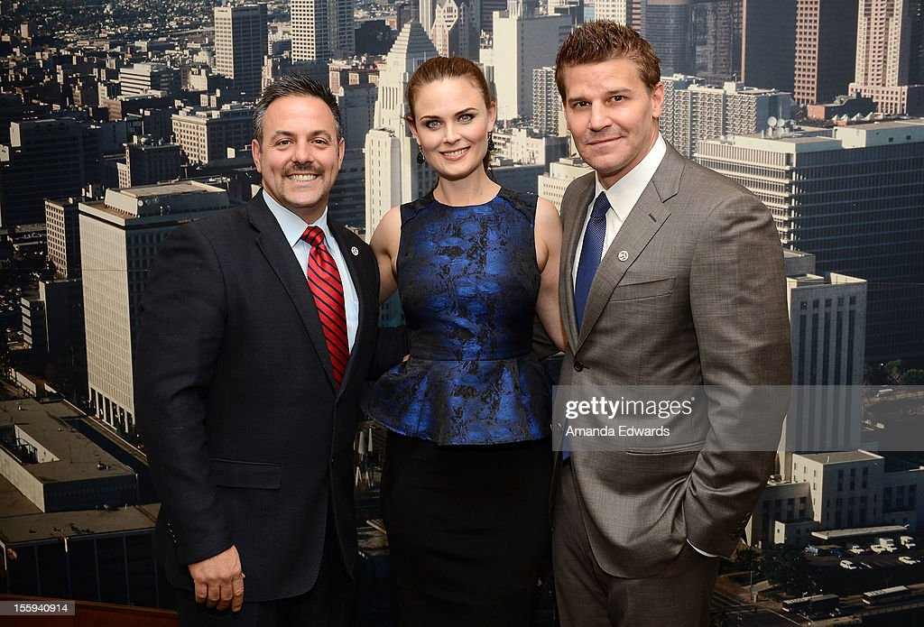 Los Angeles City Councilmember Joe Buscaino, actress Emily Deschanel and actor David Boreanaz attend FOX's 'Bones' City of Los Angeles City Hall Presentation at Los Angeles City Hall on November 9, 2012 in Los Angeles, California.