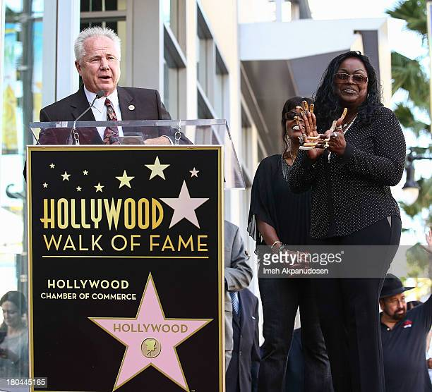 Los Angeles City Councilmen Tom LaBonge and singer Goldean White attend the late Barry White's posthumous honoring of a star on the Hollywood Walk of...