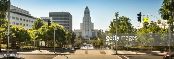 los angeles city hall panoramic - democracy day stock pictures, royalty-free photos & images