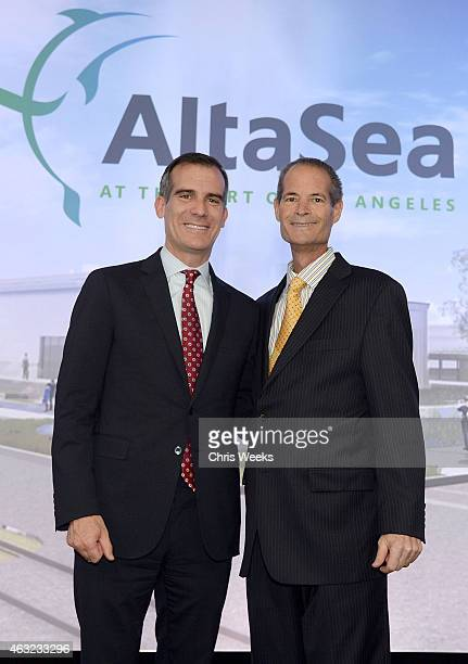 Los Angeles City Mayor Eric Garcetti and Annenberg Foundation Executive Director Leonard Aube attend A Day at AltaSea on February 11 2015 in Los...