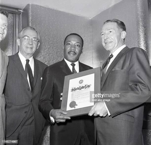 Los Angeles City Supervisor Warren M Dorn businessman Harold Chad McClellan American civil rights activist Dr Martin Luther King Jr and Mayor Samuel...