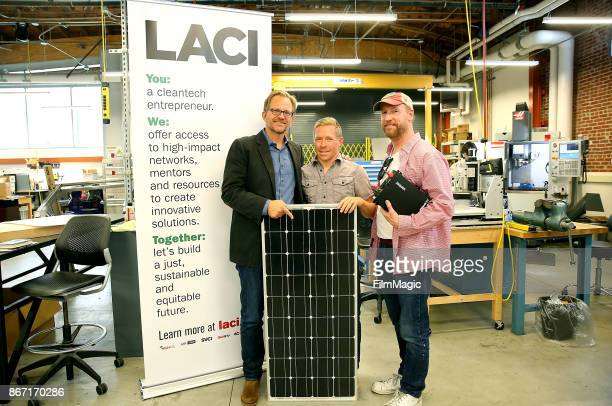 Los Angeles Cleantech Incubator CEO Matt Petersen stands with Robert Metcalf and Matt Walsh in the Advanced Prototyping Center to develop and test...