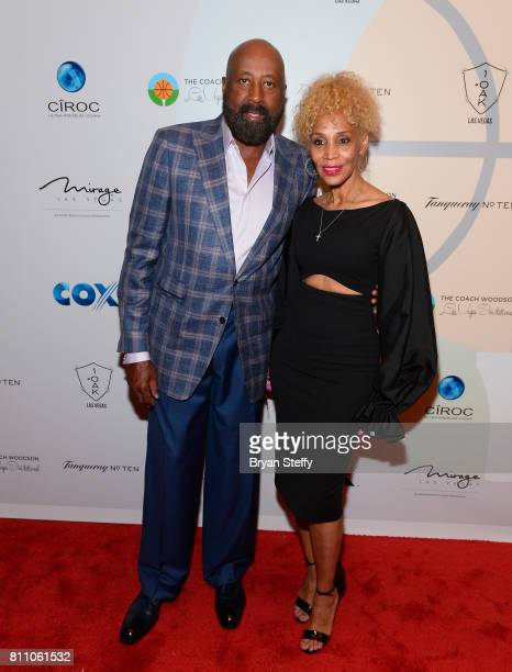 Los Angeles Clippers Assistant Coach Mike Woodson and his wife Terri Woodson arrive at the Coach Woodson Las Vegas Invitational red carpet and...