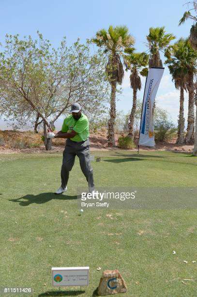 Los Angeles Clippers Assistant Coach Mike Woodson hits a tee shot during the Coach Woodson Las Vegas Invitational at Cascata Golf Club on July 9 2017...