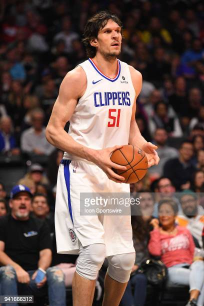 Los Angeles Clippers Center Boban Marjanovic looks on during an NBA game between the San Antonio Spurs and the Los Angeles Clippers on April 3, 2018...