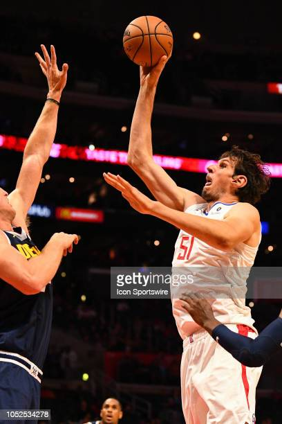 Los Angeles Clippers Center Boban Marjanovic shoots a shot during an NBA preseason game between the Denver Nuggets and the Los Angeles Clippers on...