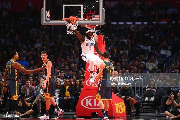 Los Angeles Clippers Center Montrezl Harrell dunks the ball during a NBA game between the Golden State Warriors and the Los Angeles Clippers on...