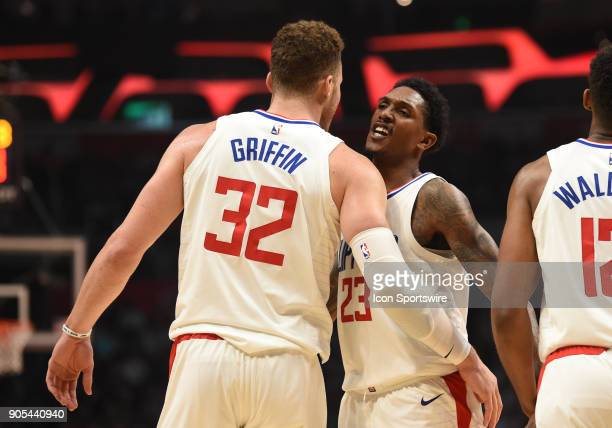 Los Angeles Clippers Forward Blake Griffin and Los Angeles Clippers Guard Lou Williams chest bump during an NBA game between the Houston Rockets and...