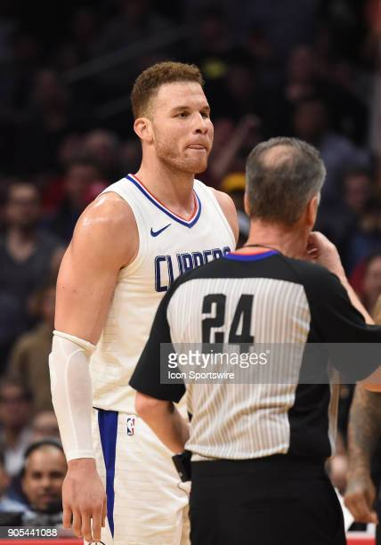 Los Angeles Clippers Forward Blake Griffin looking angry after getting into a shoving match with Houston Rockets Guard Chris Paul during an NBA game...