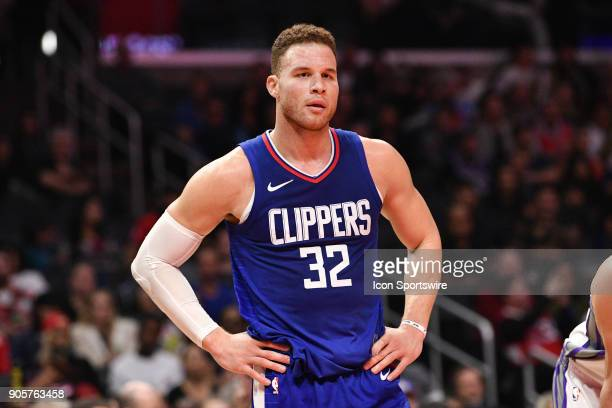 Los Angeles Clippers Forward Blake Griffin looks on during an NBA game between the Sacramento Kings and the Los Angeles Clippers on January 06 2018...