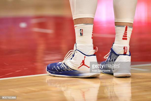 Los Angeles Clippers Forward Blake Griffin's Jordan Nike shoes during an NBA game between the Sacramento Kings and the Los Angeles Clippers on...