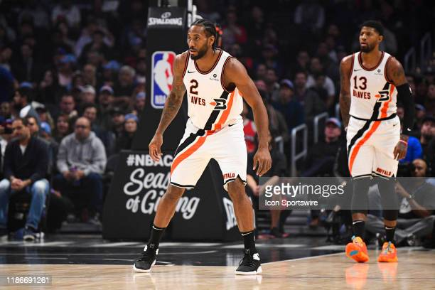 Los Angeles Clippers Forward Kawhi Leonard and Los Angeles Clippers Guard Paul George on defense during a NBA game between the Portland Trail Blazers...