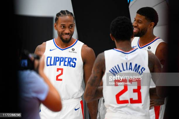 Los Angeles Clippers Forward Kawhi Leonard Los Angeles Clippers Forward Paul George and Los Angeles Clippers Guard Lou Williams pose for a photo...