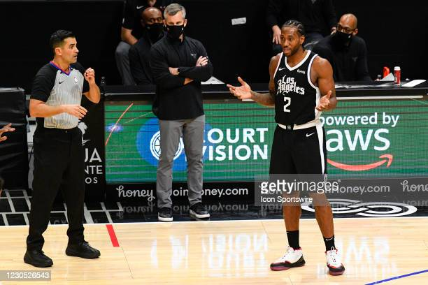 Los Angeles Clippers Forward Kawhi Leonard reacts to a foul call that was overturned after replay during a NBA game between the Chicago Bulls and the...