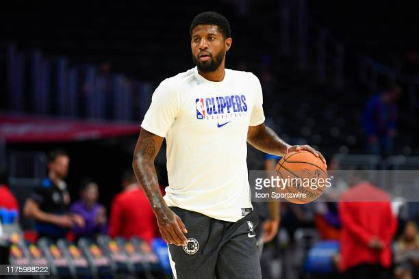 Los Angeles Clippers Forward Paul George works out before a NBA preseason game between the Melbourne United and the Los Angeles Clippers on October...