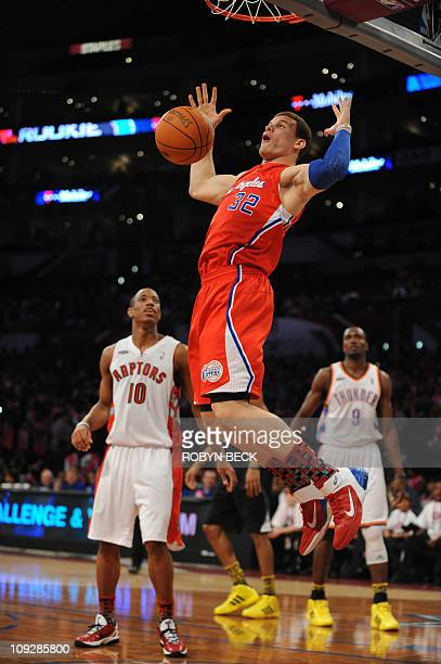 Los Angeles Clippers guard Blake Griffin dunks for the rookie team during the NBA All Star - Rookie Challenge at the Staples Center in Los Angeles...