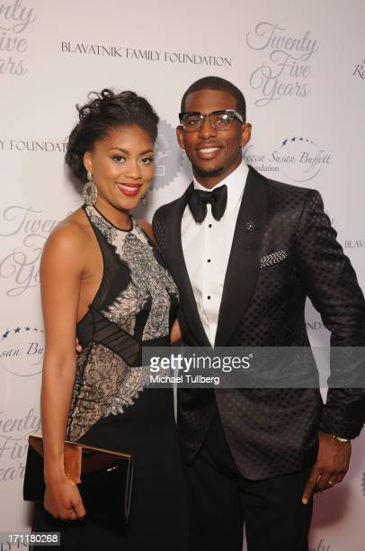 Los Angeles Clippers guard Chris Paul and wife Jada Paul attend the LA's Best 25th Anniversary Gala at The Beverly Hilton Hotel on June 22 2013 in...