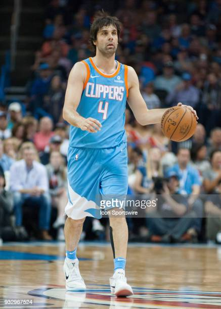 Los Angeles Clippers Guard Milos Teodosic bringing the ball up court versus Oklahoma City Thunder on March 16 2018 at Chesapeake Energy Arena in...