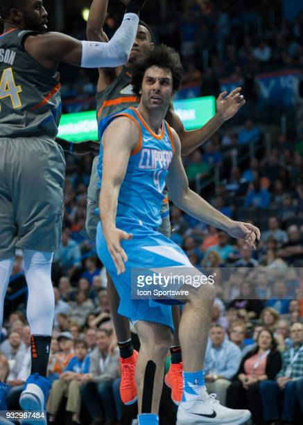 Los Angeles Clippers Guard Milos Teodosic looking towards the referee after the no call versus Oklahoma City Thunder on March 16 2018 at Chesapeake...
