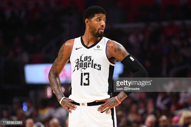 Los Angeles Clippers Guard Paul George looks on during a NBA game between the Washington Wizards and the Los Angeles Clippers on December 1 2019 at...