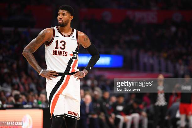 Los Angeles Clippers Guard Paul George looks on during a NBA game between the Portland Trail Blazers and the Los Angeles Clippers on December 3 2019...