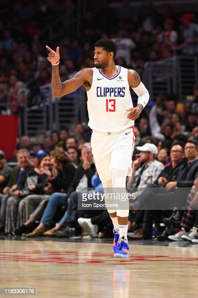 Los Angeles Clippers Guard Paul George reacts after hitting a three pointer during a NBA game between the Oklahoma City Thunder and the Los Angeles...