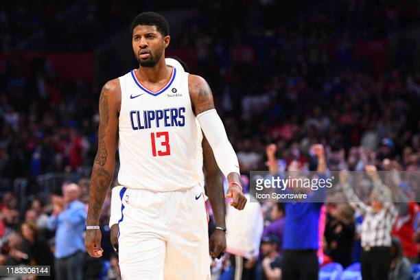 Los Angeles Clippers Guard Paul George reacts after hitting the game winning shot during a NBA game between the Oklahoma City Thunder and the Los...