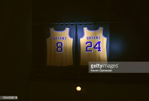 Los Angeles Clippers honor Kobe Bryant by lighting up his retired Los Angeles Lakers jersey at Staples Center on February 1, 2020 in Los Angeles,...