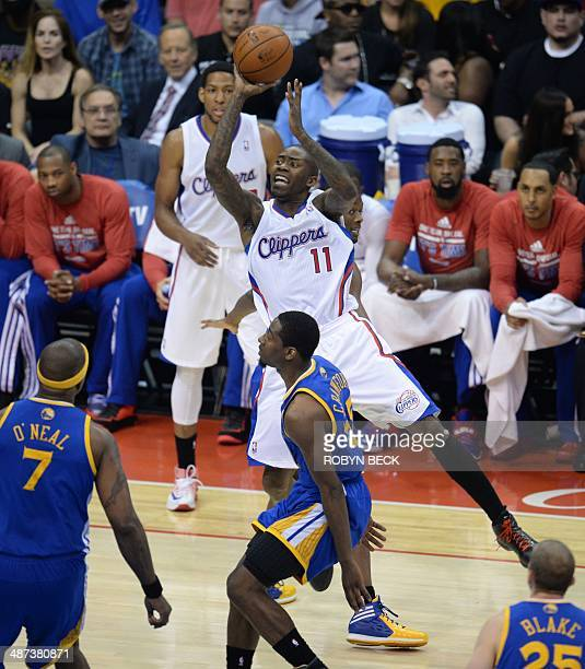 Los Angeles Clippers Jamal Crawford shoots during the NBA playoff game between the Los Angeles Clippers and the Golden State Warriors April 29 2014...