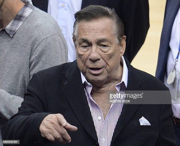 Los Angeles Clippers owner Donald Sterling attends the NBA playoff game between the Clippers and the Golden State Warriors April 21 2014 at Staples...