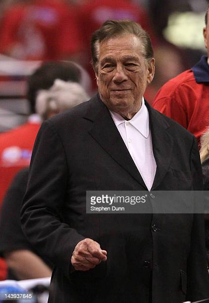 Los Angeles Clippers owner Donald Sterling stands on the sidelines before the game with the Memphis Grizzlies in Game Three of the Western Conference...