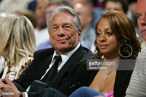 Los Angeles Clippers owner Donald Sterling watches game four of the Western Conference Quarterfinals with LaLa Vasquez , MTV VJ and fiancee of...