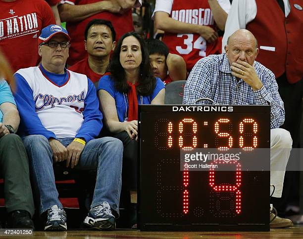 Los Angeles Clippers owner Steve Ballmer waits behind a temporary shot clock on the court during Game Two in the Western Conference Semifinals of the...