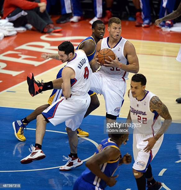 Los Angeles Clippers player Blake Griffin pulls down a rebound during the NBA playoff game 5 between the Los Angeles Clippers and the Golden State...