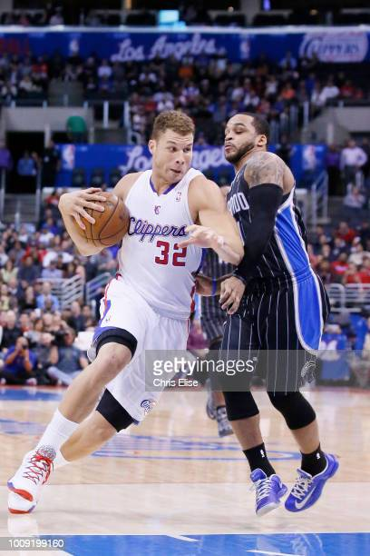 Los Angeles Clippers power forward Blake Griffin drives past Orlando Magic point guard Jameer Nelson during the Los Angeles Clippers 101-81 victory...